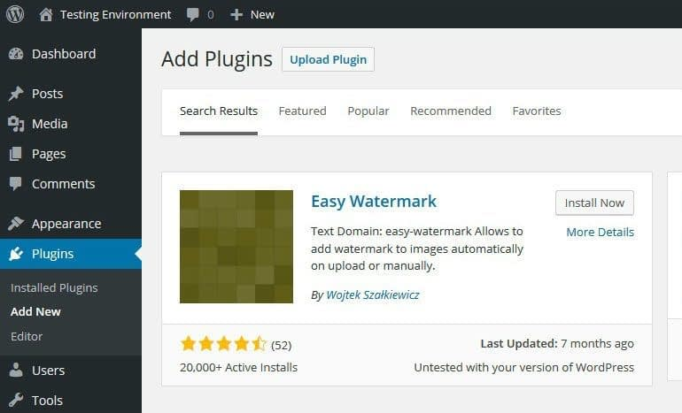 Install Easy Watermark Plugin