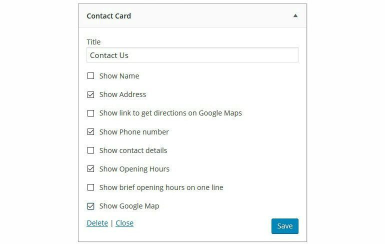 Business Profile Widget Configuration