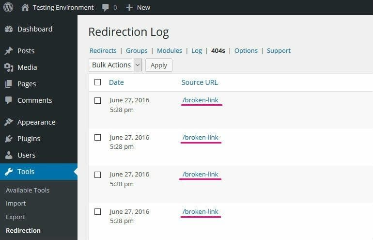 Redirection 404 detection