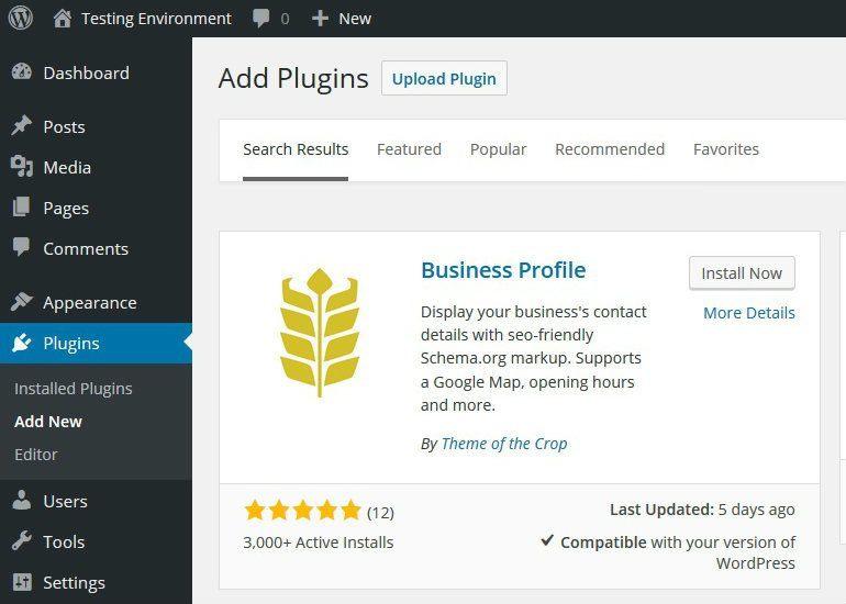Install Business Profile Plugin