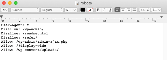 optimize WordPress robots.txt file: example of the file