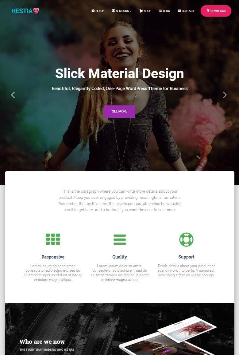 hestia material design theme