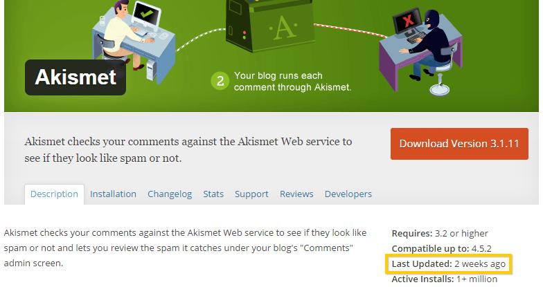 Viewing Akismet's WordPress Plugin Last Update