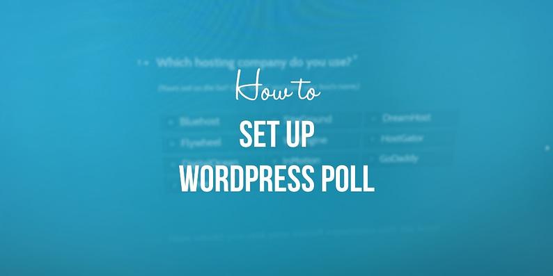 set up a WordPress poll