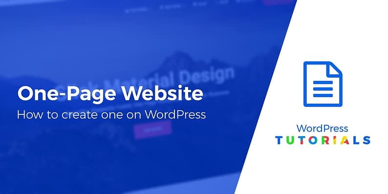 create a one-page website on WordPress
