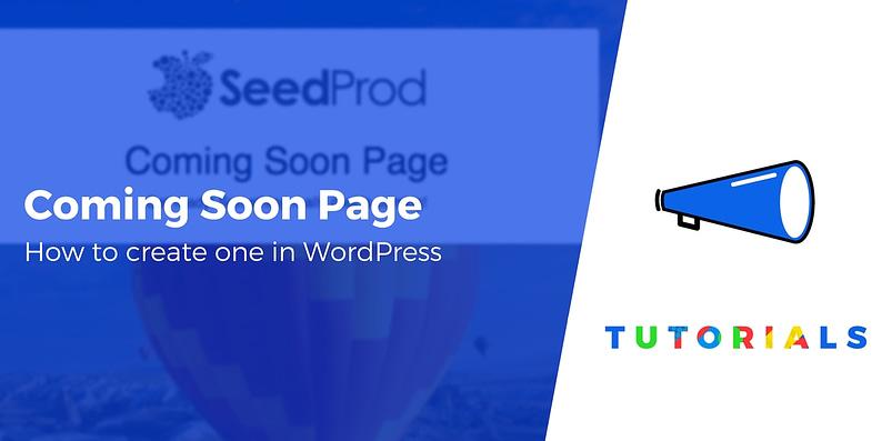 WordPress coming soon page