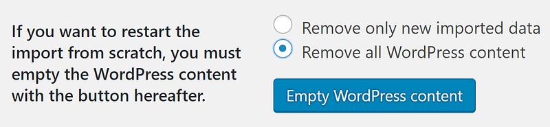 The empty WordPress content settings.