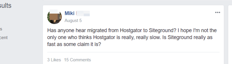 hostgator facebook review