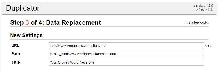 Configuring your new site's URL and path.