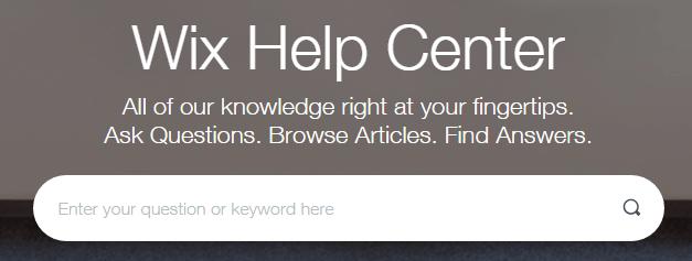 A screenshot of Wix's Help Center.