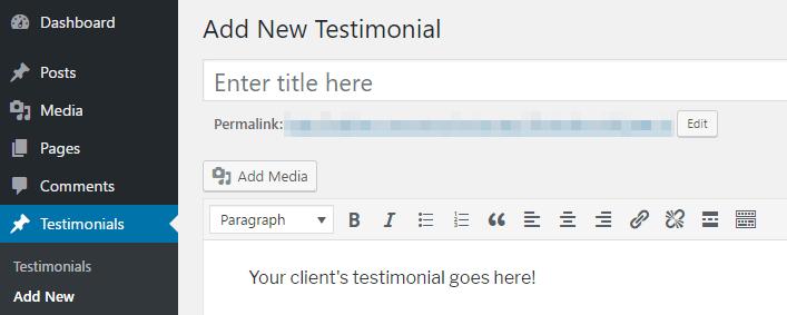Creating a new testimonial.