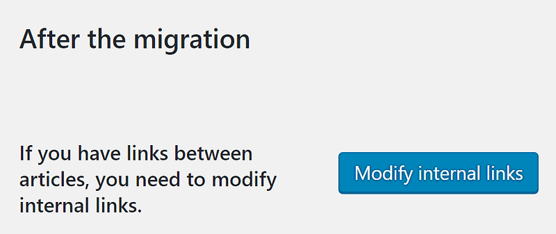 The Modify internal links option.