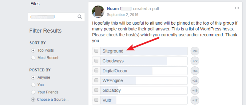 siteground facebook poll