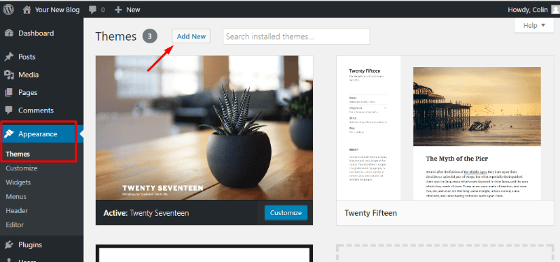 Adding a new WordPress theme