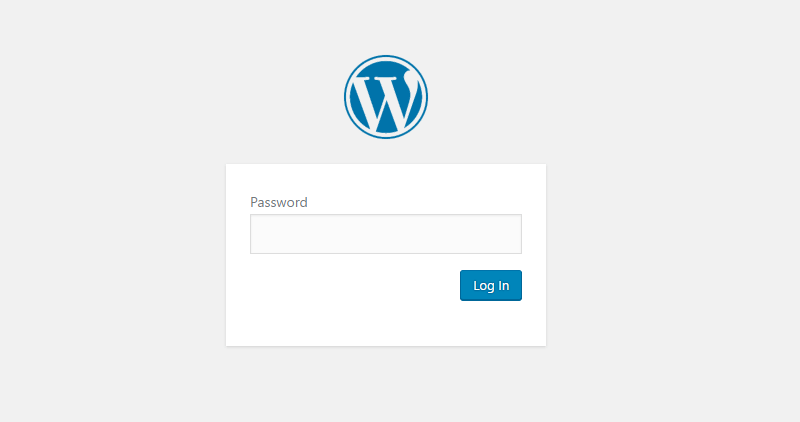 WordPress password entry