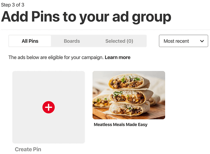 The screen on which you'll select the Pins you want to promote.