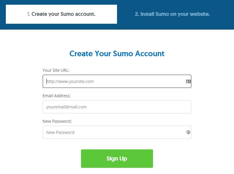 Exit intent pop-ups in WordPress: Create a Sumo Account