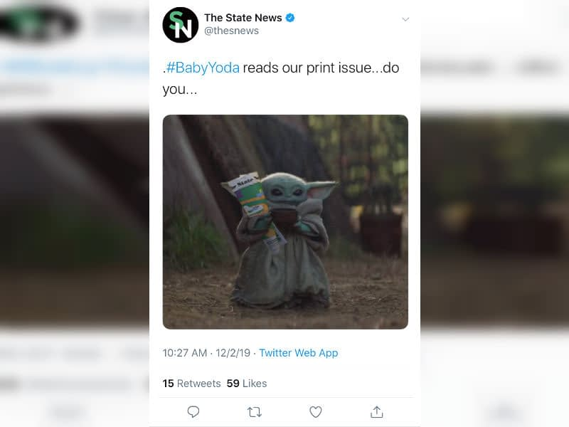 A Tweet from Michigan State University.