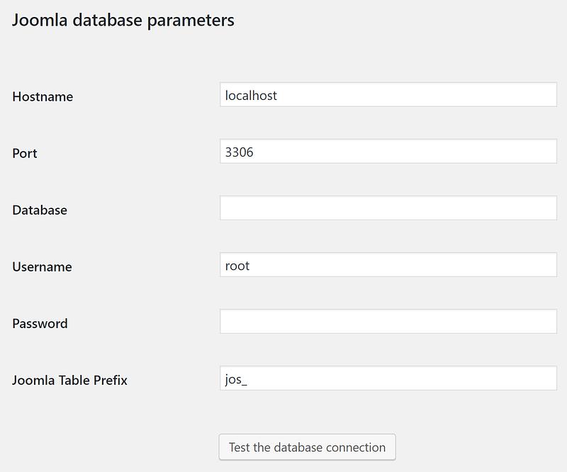 The Import database parameters settings.