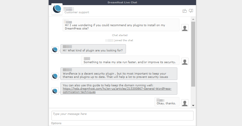 An exchange with the DreamHost live chat service.
