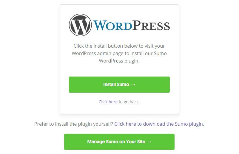 Exit intent pop-ups Install Sumo