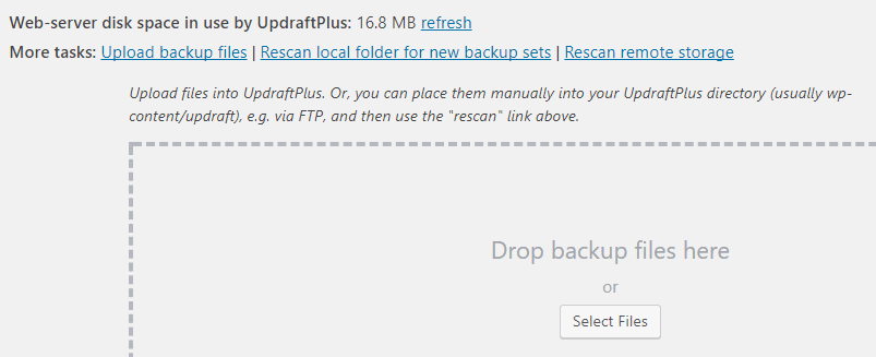 Uploading your backup files before you upgrade WordPress to PHP 7