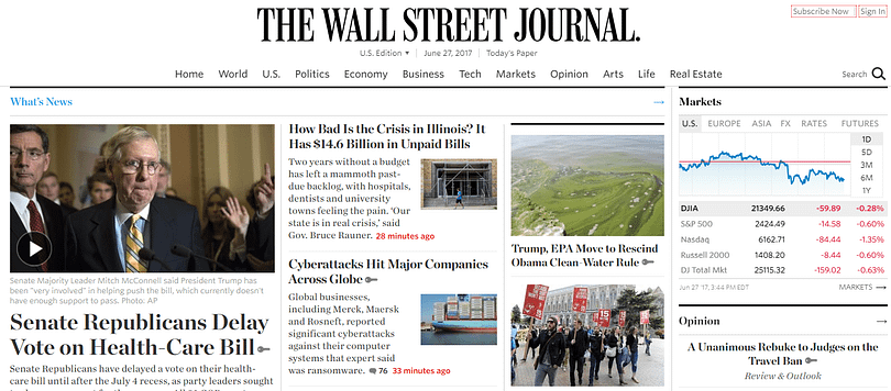 The Wall Street Journal's Font Combinations