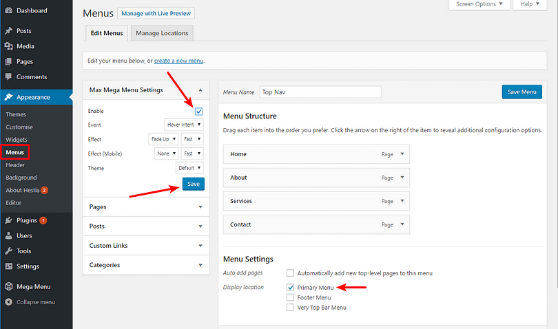 how to enable WordPress mega menu functionality