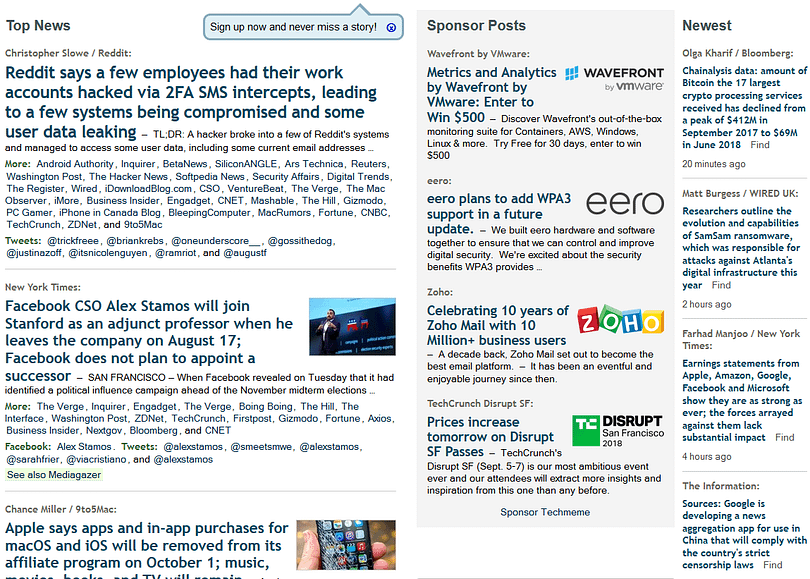 Techmemes structure keeps high number of headlines on the frontpage