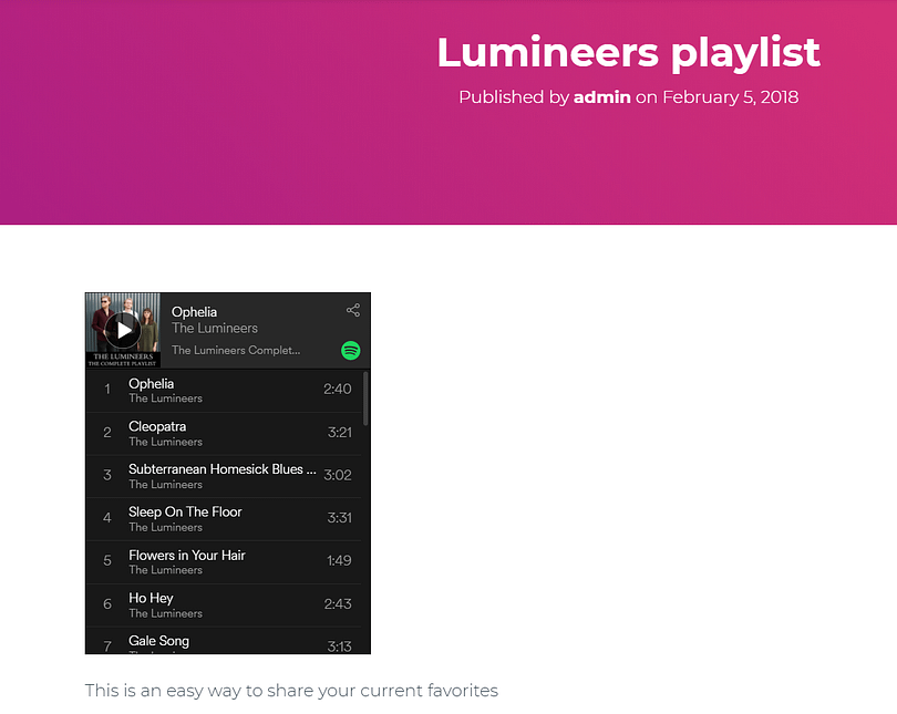 Spotify playlist added to blog post