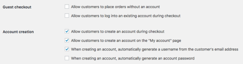 Enabling guest checkout in WooCommerce.