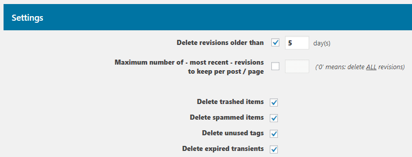 The Optimize Database plugin's settings.