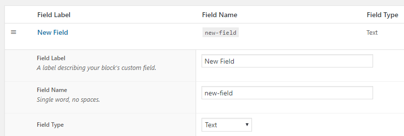 Adding custom fields to your new block.