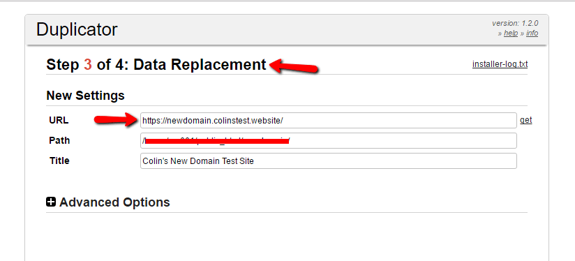 enter your new domain details