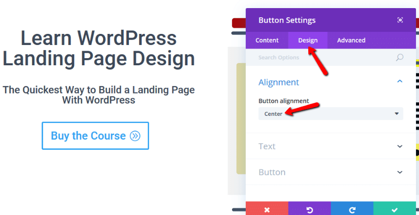 change alignment divi button