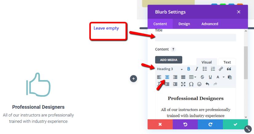 editing divi blurb module