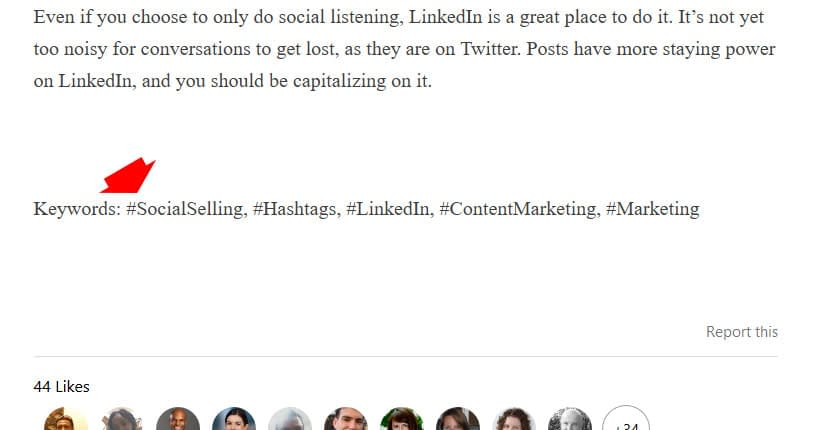 add hashtags to linkedin pulse articles