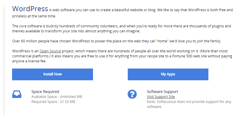The WordPress installation option under Softaculous.