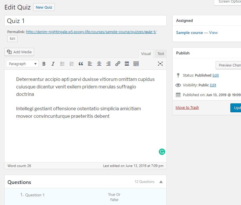 Adding quiz details