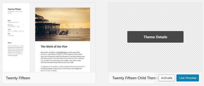 Activating your WordPress child theme.