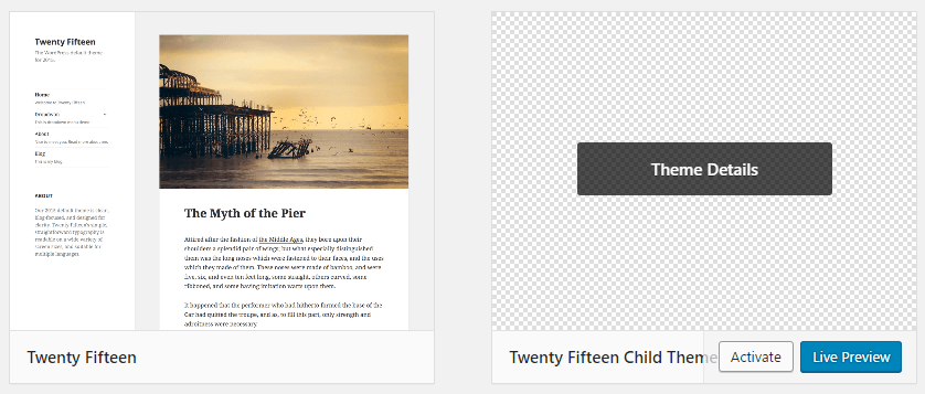 Activating your WordPress child theme.