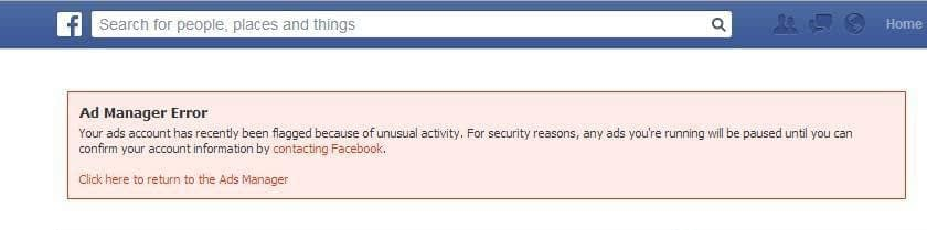 Common Facebook Page Issues: Facebook ad account blocked