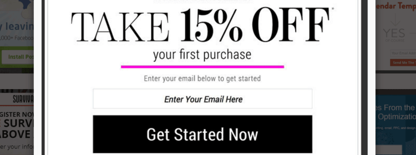 An exit-intent popup featuring a coupon code.