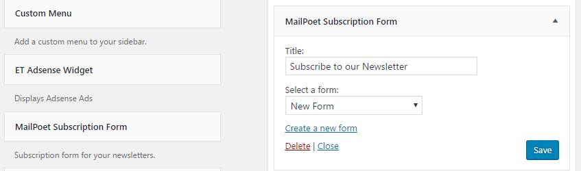 The MailPoet signup widget.