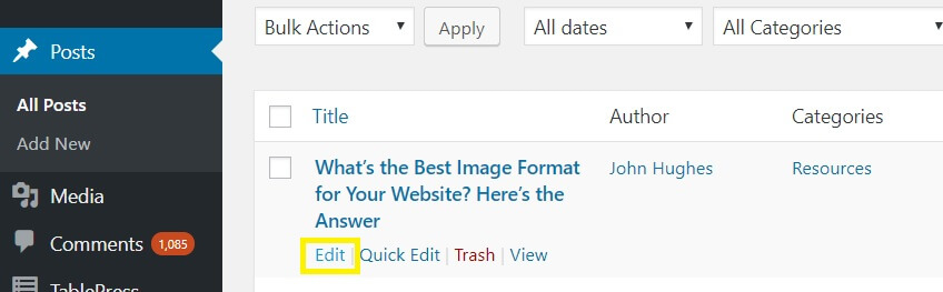 The Edit feature on the WordPress Posts page