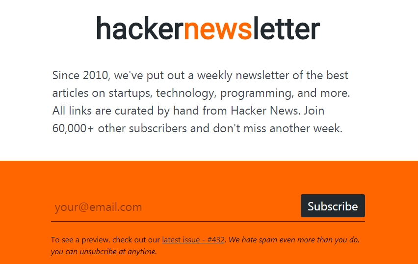 hackernews newsletter subscribe page