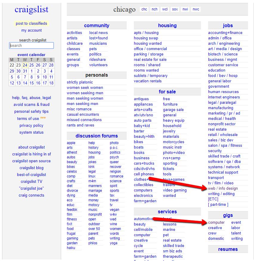 choose gigs or jobs on craigslist