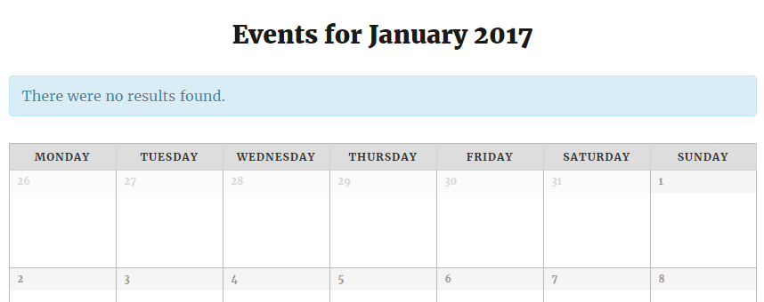 An example of a calendar built using the Events Calendar plugin.