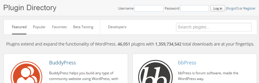 A screenshot of the WordPress plugin directory.