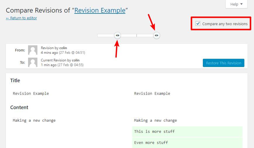 compare non-sequential revisions